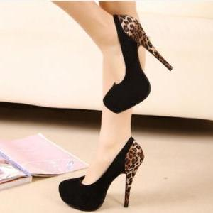 High-heeled shoes Leopard splicing ..