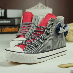 fashion bow Striped canvas shoes CA..