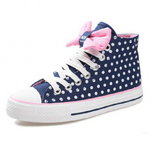 Dot bow flat shoes high-top shoes B..