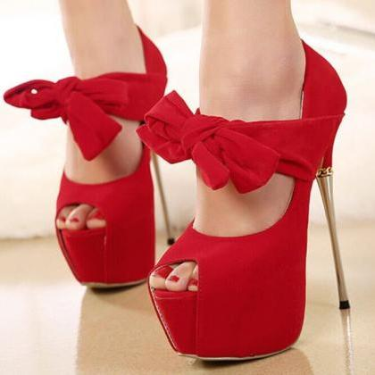 Red bowknot fish mouth high-heeled ..