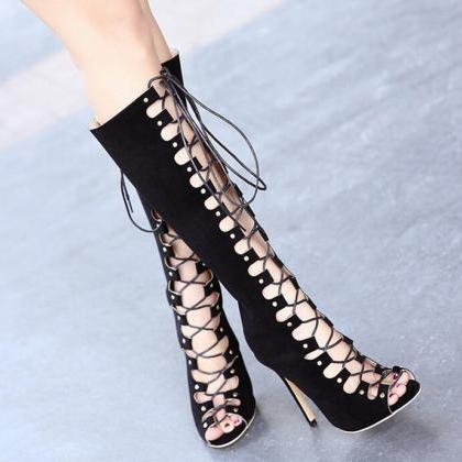 Fashion hollow sexy boots women's b..