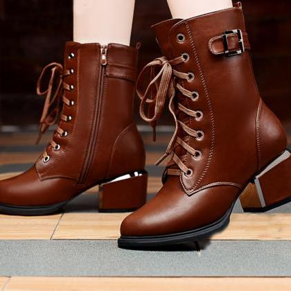 Fashion leather zipper boots 810549..