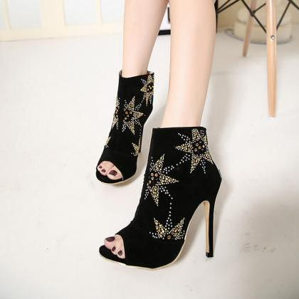 Peep-Toe Star-Embellished Stiletto ..