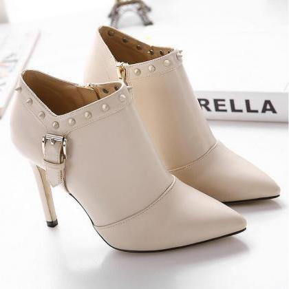 Pointed-Toe Stiletto Ankle Boots wi..
