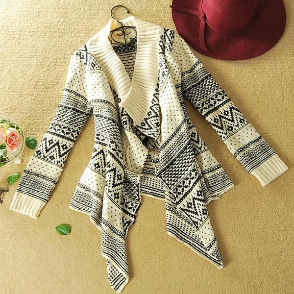 7dc274b3dbe Long-sleeved Cardigan Sweater Coat Irregular Geometry A 080506 on Luulla