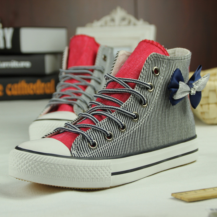 fashion bow Striped canvas shoes CA922BF