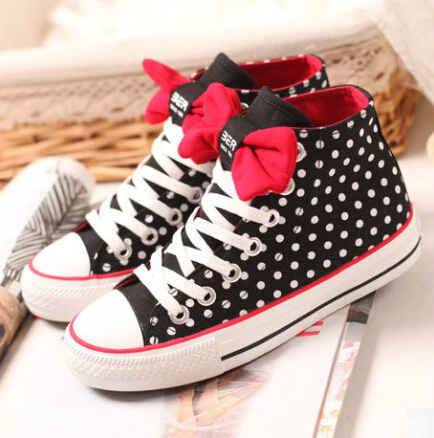 Dot bow flat shoes high-top shoes BB1028DD