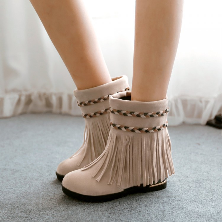 Increase in fashionable tassel Flat boots BH1127BI
