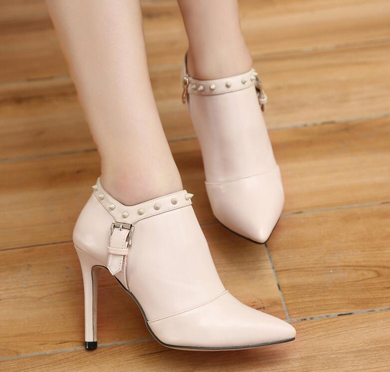 Pointed-Toe Stiletto Ankle Boots with Rivet and Buckles Detailing