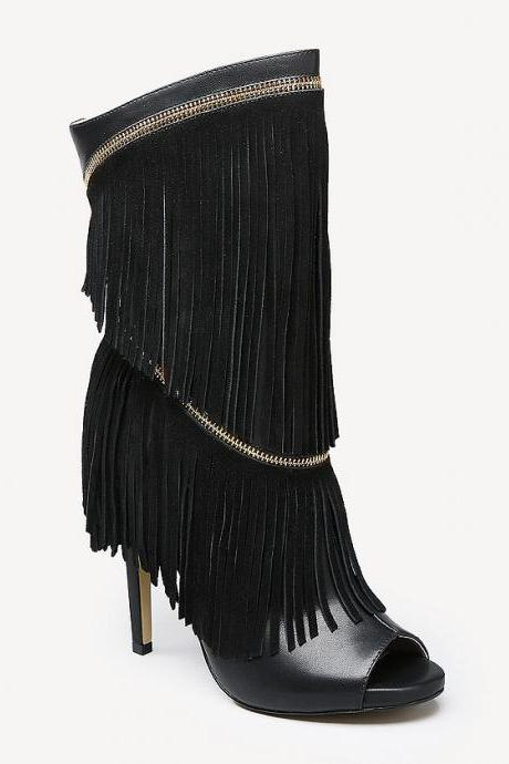 Fashion fish mouth fringed high-heeled boots 3518092