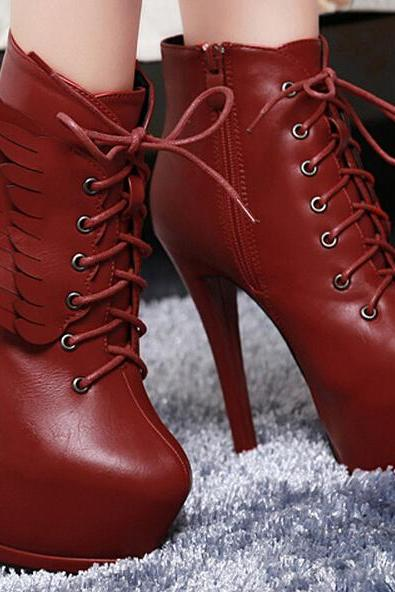 Fashion wings Waterproof high-heeled boots 9355620
