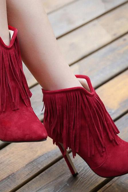 Fashion pointed suede tassel boots 8210684