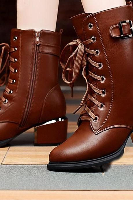 Fashion leather zipper boots 8105493