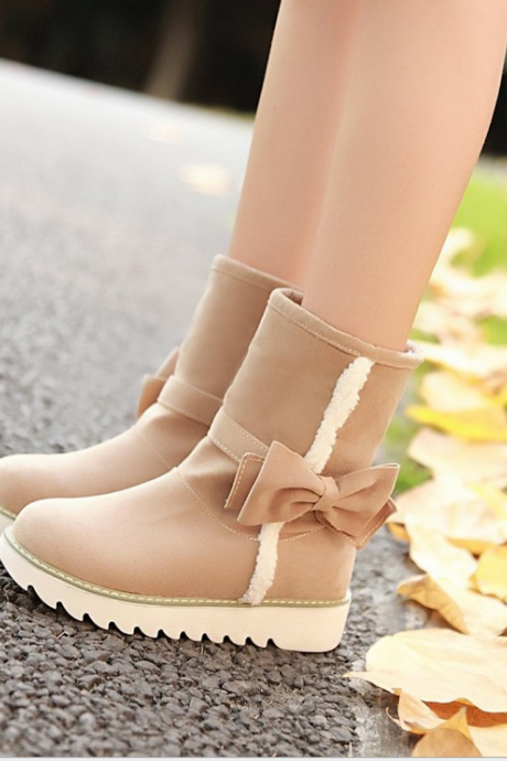Round head bow flat shoes fashion boots 4132058