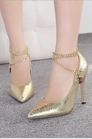 Fashion metal chain pointed high-heeled shoes 1785168