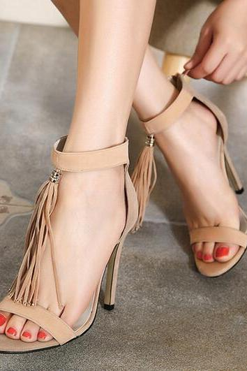 Sexy tassel fish head high heels sandals 6815071